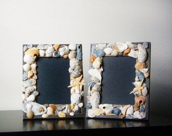 Mosiac Sea Shell Picture Frame ~ Table Top Picture ~ Beach Cottage Picture Frame ~ Sea Shell Art ~ Wood Picture Frame ~ Rustic Picture Frame