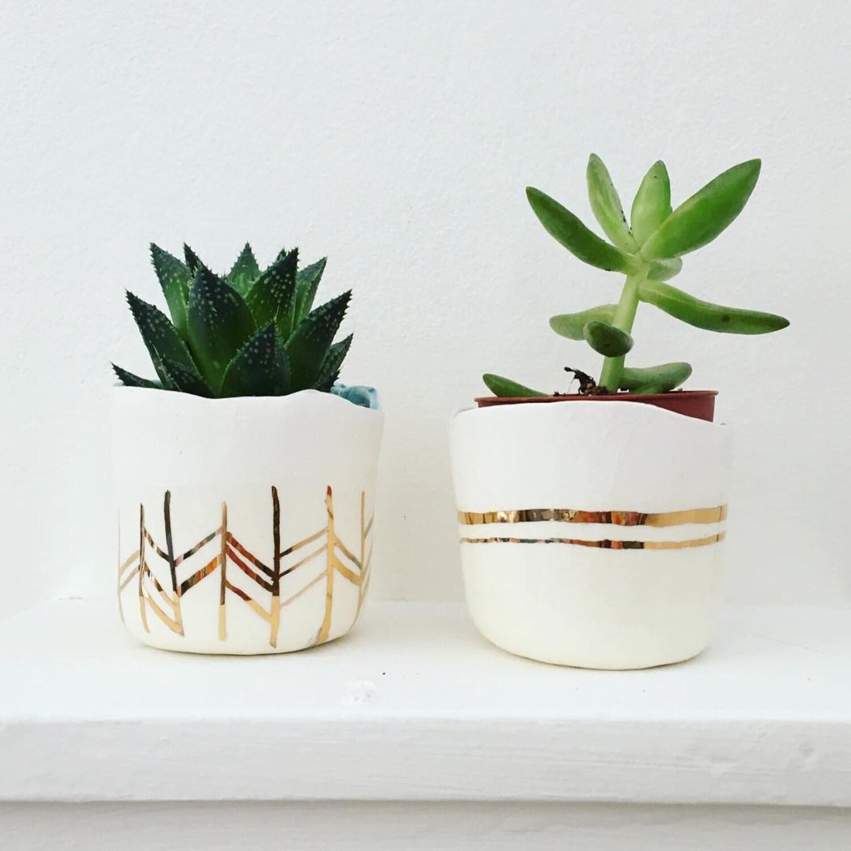 Pre Order Ceramic 22kt Gold Succulent Planter Large To