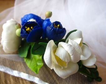Blue english roses - blue ranunkulyus - flower hair clip - romantic hair flower - polymer clay flowers - floral hair accessory
