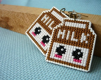 Cross stitch earrings - chocolate milk, earrings on plastic canvas, embroidered earrings