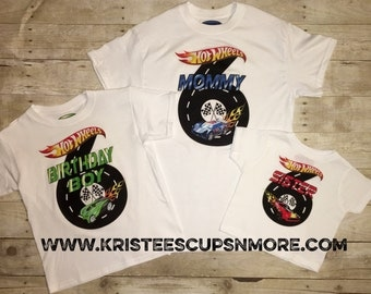 Sale!! A Special Hot Wheels Birthday Shirt  with Name on back BD1179