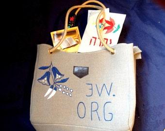 JW.Org hand embroidered canvas shoulder  bag