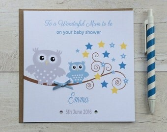 Personalised Baby Shower Card with Blue Owl - Mum to Be, Mother to be, Mummy to be, Baby Boy Baby Shower Card (LB062)