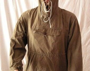 Vintage 1980's Military Green Canvas Anorak