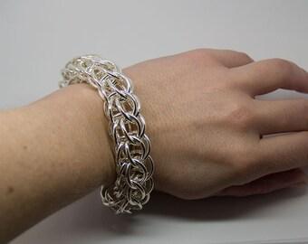very wide silver bracelet handmade also 925-Silver