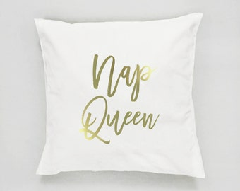 Nap Queen Pillow, Typography Pillow, Gold Pillow, Home Decor, Cushion Cover, Throw Pillow, Bedroom Decor, Bed Pillow, Decorative Pillow