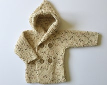 Handmade Cotton Baby Sweater with Hood 3-12 months / Baby Clothes / Knits / Unisex / Coconut Shells Buttons