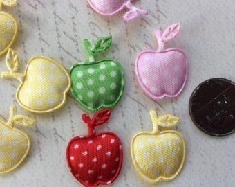 SET of 20 ASSORTMENT Padded Satin Polka Dot Apple Appliques/sewing/embellishments/hair clip/hair bow/scrapbooking/trim