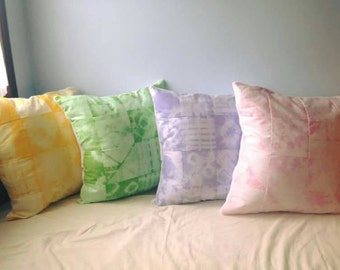 2 Patchwork tie-dye cushion, pink and purple