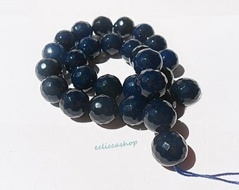 Agate faceted round hard stone 14 MM Blue Night 4 PZ