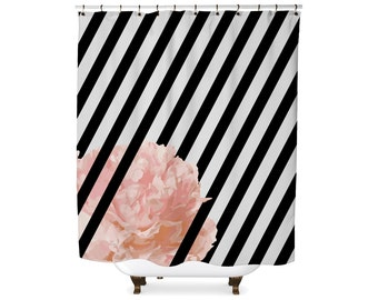 Black and white stripe peony flower shower curtain