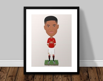 Marcus Rashford Manchester United Illustrated Poster Print | A6 A5 A4 A3