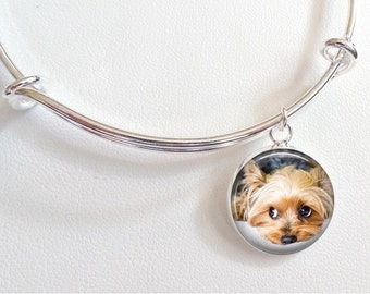 Yorkie Bracelet or Custom Photo Charm Bracelet Silver Yorkshire Terrier Dog Charm Bracelet - adjustable bangle bracelet -pet photo bracelet