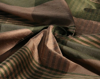"Silk Dupioni Fabric - Plaid Brown/Green/Tan - 100% Silk - by the yard - 55"" WIDE! (EP Silk #18)"
