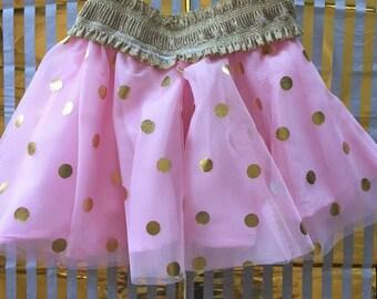 Girls Pink and Gold Polka dot tulle skirt