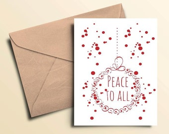 Peace To All Seasonal Cards – Set of 10 With Envelopes