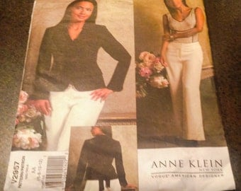 Vogue V2957 Sewing Pattern Anne Klein Lined Front Darts Princess Seams Welt Pockets Jacket Pants Size 6 8 10 12 American Designer