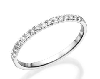 Half Eternity Wedding Band, 14K White Gold Ring, 0.12 CT Diamond Eternity Ring, Thin Gold Ring, Eternity Band Size 6.5