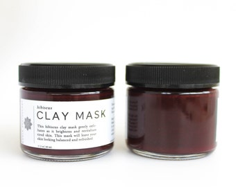 Hibiscus Clay Mask: floral face mask, hibiscus mask, natural face mask, honey face mask, brightening mask, exfoliating mask