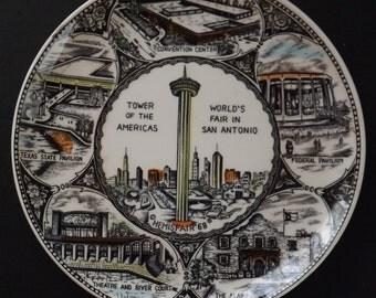 1968 World's Fair Hemisfair San Antonio Souvenir Plate