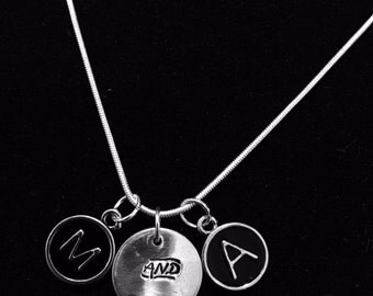 Initial Necklace/ AND hand stamped Disc/ Silver Chain