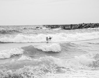 Spain photography, Barcelona photo, surfing photo, beach house decor, wall art, black and white photo, ocean photo,Mediterranean coast