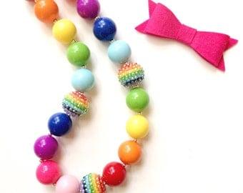 Rainbow Sparkle Chunky Bead Necklace