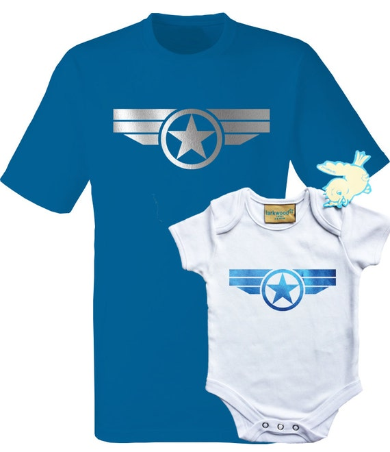 Father and baby set T shirt and baby grow Captain America