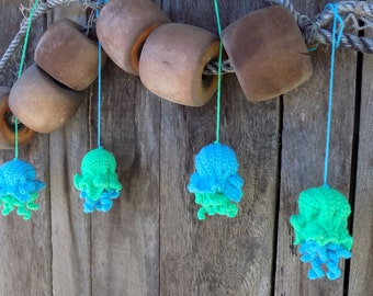 Set of 4 neon green and blue crochet jellyfish