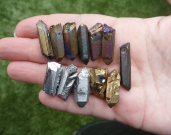12 pc Drilled Aura Quartz Points, as pictured