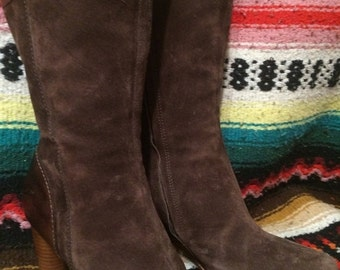 Sale Vintage brown suede/leather high-heeled ,slim ,midcalf boots ,women's Sz. 8