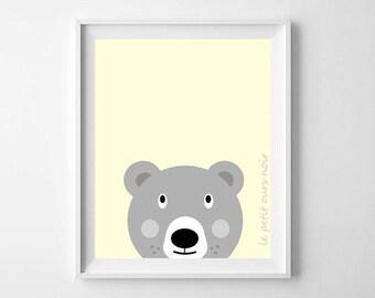Nursery Illustration, Animal Print, Nursery Print, Baby Bear Yellow, Nursery art, kids decor, baby girl, nursery decor, Baby wall art
