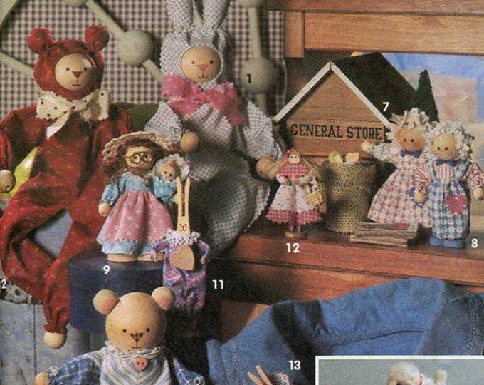 FREE US SHIP Simplicity 8098 Stuffed Pull Toys Doll Bear Bunny Rabbit Farm animals Pig Lamb Christmas Ornaments Pull toys Sewing Pattern