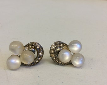 Simulated Pearl and Crystal Screw Back Earrings