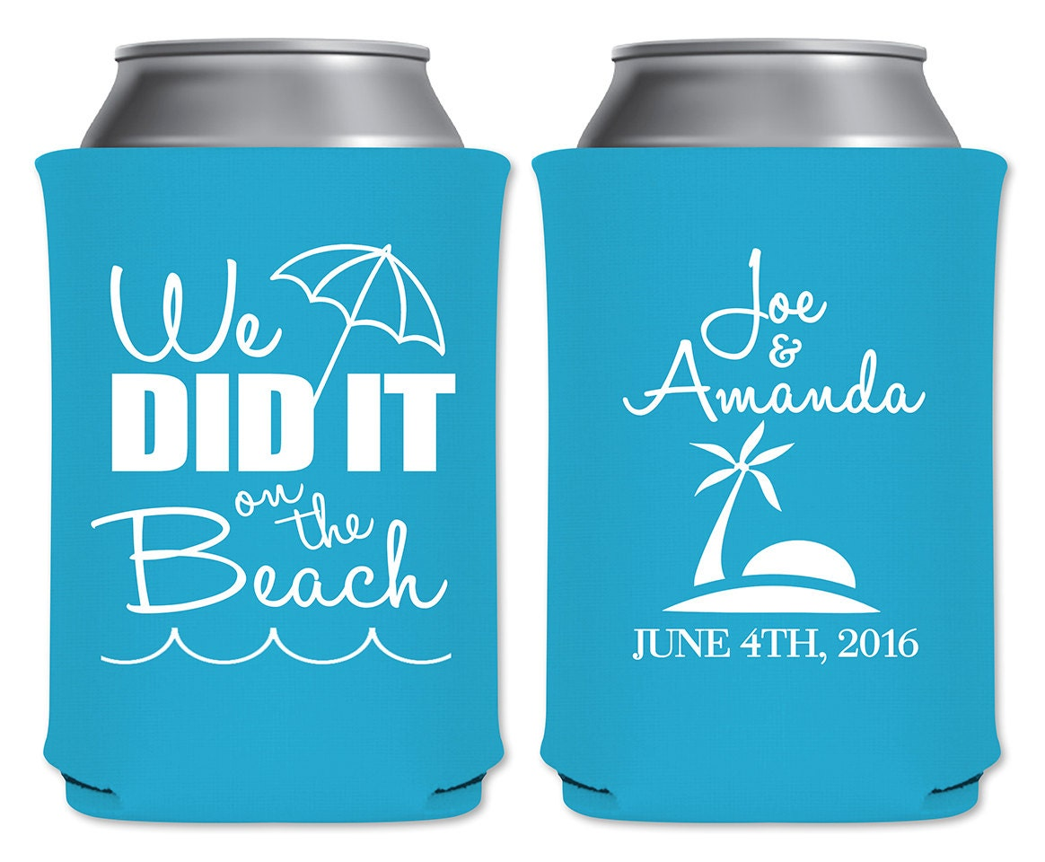 Personalized Can Coolers ~ Beach wedding can coolers beverage insulators personalized
