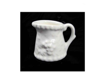 "Miniature Stoneware PItcher, 2-1/4"" Tall, Embossed Pattern, Collectible Colonial Americana Style in Pristine Condition"