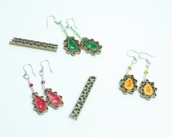 Ovals Cardboard earrings with beads