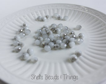 8mm Rondelle, Czech Glass Beads, White Beads, Faceted Beads, Silver Beads, Jewelry Making Supply - 1 Strand = 50 Beads