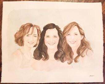 16x20 custom watercolor portrait of 3 faces.