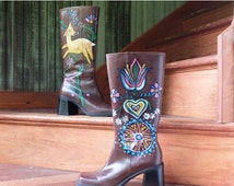 MOVING SALE 90s Vintage Knee-High Brown Faux Leather Square Toe Chunky Hand Painted Folk Art Boho Boots