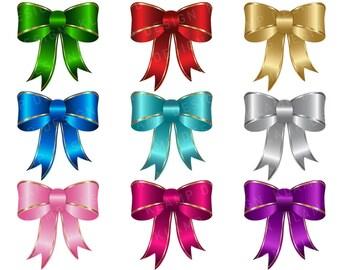 Digital Bows Clipart, Ribbon Clipart, Clip Art Bows, Scrapbook, Digital Clipart, Holiday Clipart, Printable Clipart