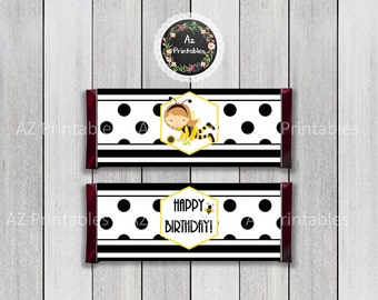 Instant download, bumble, bee, theme, candy, wrapper, chocolate, party, birthday, buzz, polka, dots, black, white,printable, digital, print