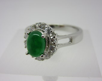 Turkish Handmade 925K Sterling Silver Emerald Topaz Ring Size 6