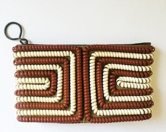 Vintage Geometric Striped Phone Cord Clutch Purse