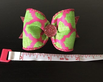 Pink/ lime green dog bow