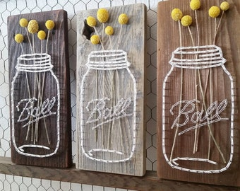 Mason Jar String Art, Reclaimed Wood, String Art Sign, Barn Wood Sign, Real Dried Flowers, Billy Balls
