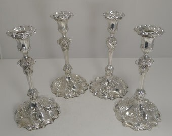 Magnificent Set Four Elkington Plate Candlesticks - Dated 1845