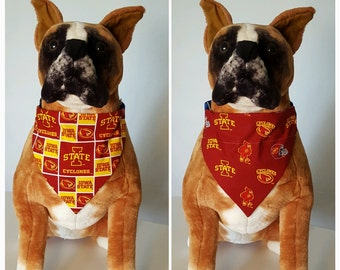 Reversible Bandana, Made With Iowa State University Fabric, Cyclones, Scarf, Dog, Cat, Pet, Slip On Over The Collar, 2 in one