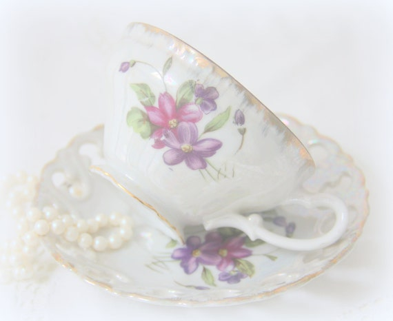 Beautiful Vintage Porcelain Cup and Saucer, Lustreware,  Decor, Reticulated Rim