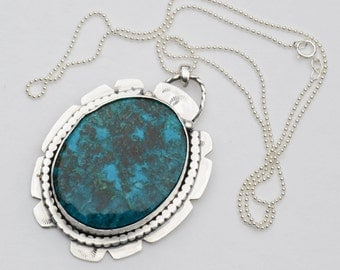 Sterling Silver Pendant with Peruvian Chrysocolla